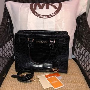 Michael Kors black alligator embossed satchel